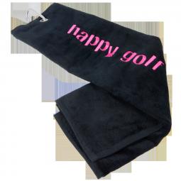 Ručník černý HAPPY GOLF (logo magenta)